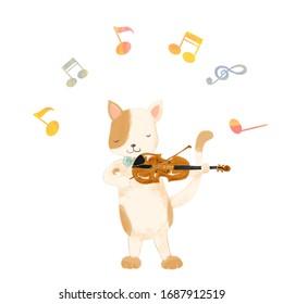 Cartoon animal playing music, Cat, violin, violinist