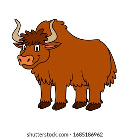 Cartoon Animal Yak. Raster illustration. For pre school education, kindergarten and kids and children. For print and books, zoo topic. Smiling with happy face.