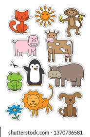 Cartoon animals characters set for children. Print ready A4 design for cutout or stickers