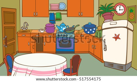 Cartoon Animated Kitchen Interior Fridge Stockillustration 517554175
