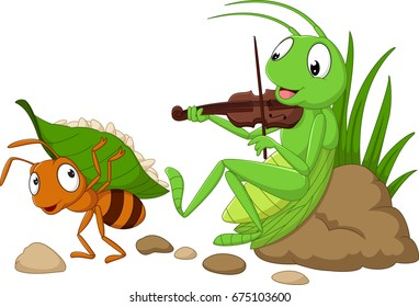 Cartoon the ant and the grasshopper