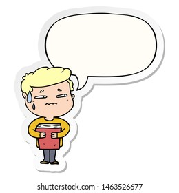 cartoon anxious boy carrying book with speech bubble sticker