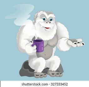 Cartoon ape like yeti - illustration for the children