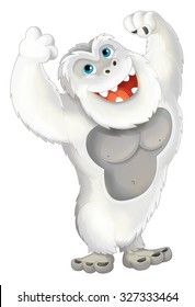 Cartoon ape like yeti standing with hands up smiling and looking strong - illustration for children