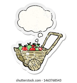 cartoon apple cart with thought bubble as a distressed worn sticker
