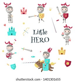 Cartoon armored knight on horseback with lance, standing with shield, sword. illustration isolated on white background. Little boy hero in medieval knight costume with flowers, gift box, guitar