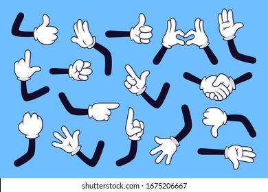 Cartoon arms. Gloved hands with different gestures, various comic hands in white gloves  illustration set. Pointing with finger, heart gesture, handshake. High five, fist, idea sign