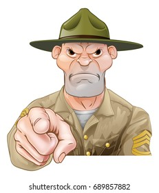Cartoon army drill sergeant soldier pointing