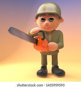 Cartoon army soldier using a chainsaw, 3d illustration render
