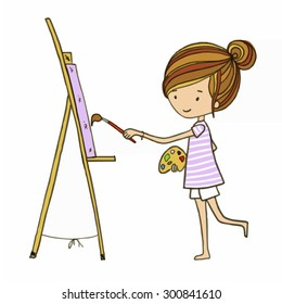 Cartoon artistic girl is drawing on easel  white isolated