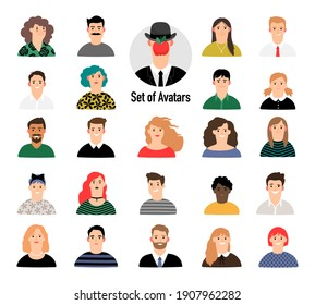 Cartoon avatar set with men and women. Business corporate people portraits on white background, female and male with apple face avatars for young creative team charechers illustration