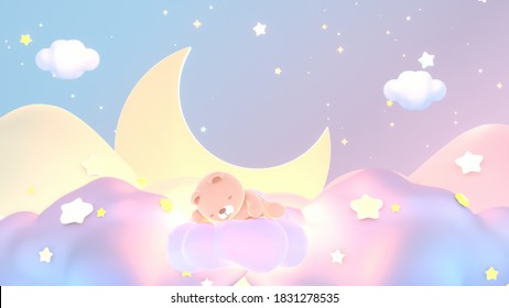 Cartoon baby animal dream. Cute bear sleeping on pastel clouds at night. 3d rendering picture.