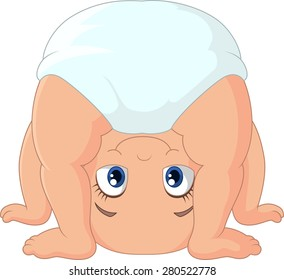Cartoon baby girl playing upside down