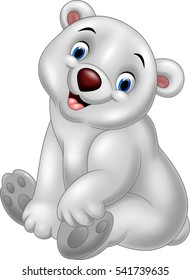 Cartoon baby polar bear sitting