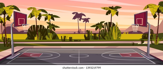 cartoon background of basketball court on street. Outdoor sport arena with baskets for game. Playground for competition, championship. Backdrop with tropic palms, sunset sky and green field.