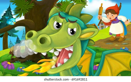 Cartoon background of a dragon near the village bursting with fire and woman looking on him - illustration for the children
