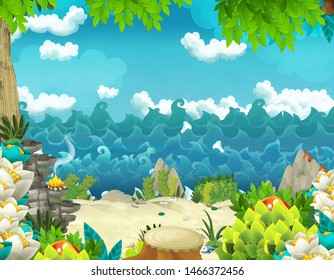 Cartoon background with jungle and sea or ocean shore - illustration for children