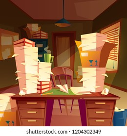 cartoon background with piles of paper in empty office, paperwork, folders, documents in boxes, chaos in workplace. A lot of job, overtime and hard work before deadline, concept illustration