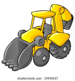 A cartoon backhoe dumptruck.