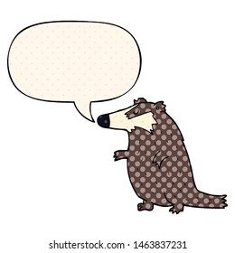 cartoon badger with speech bubble in comic book style