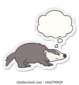 cartoon badger with thought bubble as a printed sticker
