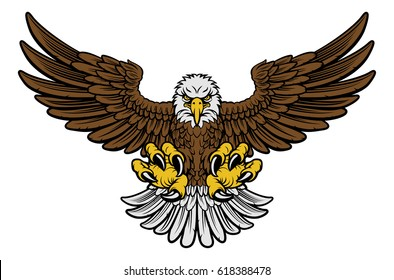 Cartoon bald American eagle mascot swooping with claws out and wings outstretched. Four color version with only brown, lightgrey, yellow and black