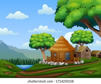 Cartoon barn house with a cabin on the hill