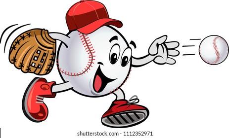 Cartoon Baseball balls. Play ball. Baseball Square shot