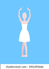 Cartoon Basic Ballet Classical Dance Second Position White Silhouette Woman on a Blue Background. illustration