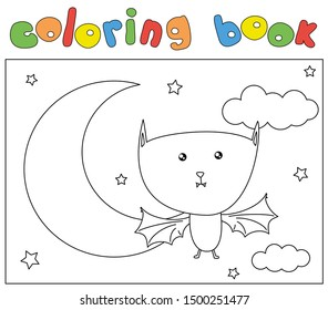 Cartoon bat on the background of a night sky, clouds, stars and moon. Coloring book for kids. Digital illustration