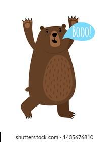 Cartoon bear animal with Booo speach bubble, illustration