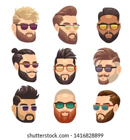 Cartoon bearded hipster man and male hairstyle set. Hipster male with beard and fashion hairstyle illustration