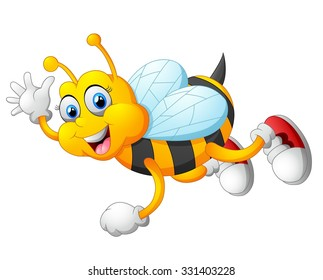 Cartoon bee waving hand isolated on white background