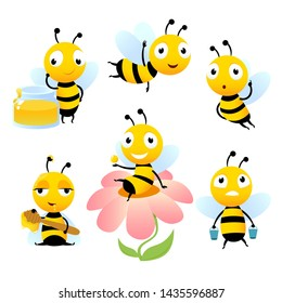 Cartoon bees. Funny illustrations of characters isolate. bee cartoon, wildlife honeybee