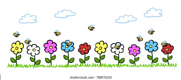 Cartoon bees pollinating flowers in garden in spring and summer