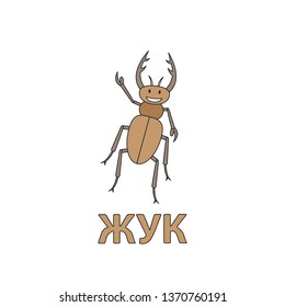 Cartoon beetle flashcard. Illustration for children education with Beetle text in Russian language