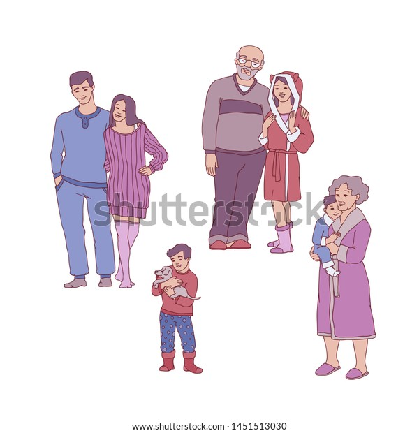 Cool Cartoon Big Family Hugging Cozy Home Stock Illustration Interior Design Ideas Gresisoteloinfo