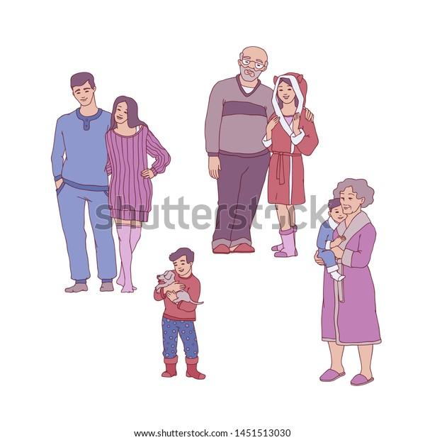 Fantastic Cartoon Big Family Hugging Cozy Home Stock Illustration Download Free Architecture Designs Fluibritishbridgeorg