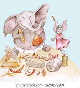 Cartoon big fat elephant-son loves eat and mom-elephant is happy