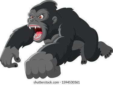 Cartoon big Gorilla was angry