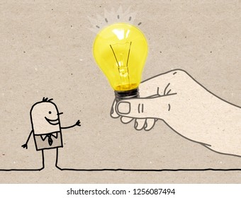 Cartoon Big Hand Giving a Light Bulb to a Cartoon Man - illustration  on brown textured paper