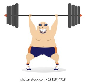 Cartoon big man a weightlifter illustration. Cartoon strong man trying to lift a heavy weight isolated on white