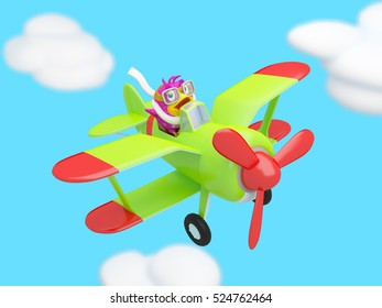 cartoon bird flying in the clouds on a green plane 3D illustration