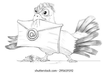 cartoon bird(post pigeon) with e-mail (metaphor, fun)