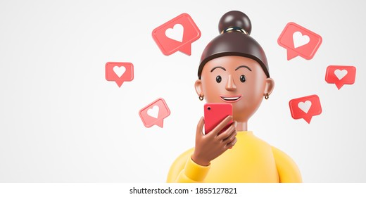 Cartoon black african american woman smile and hold red smartphone with like notifications flying around over white background. 3d render illustration