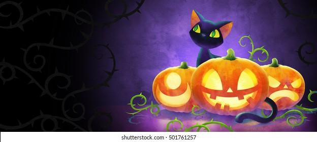cartoon black cat with halloween pumpkins watercolor illustration