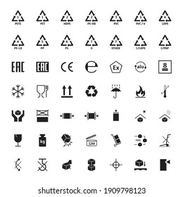 Cartoon Black Packaging Symbols Icons Set Include of Recycle, Warning, Fragile, Glass, Umbrella and Handle Element Flat Design Style Different Types. illustration