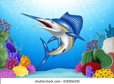 Cartoon Blue Marlin with Coral Reef Underwater in Ocean