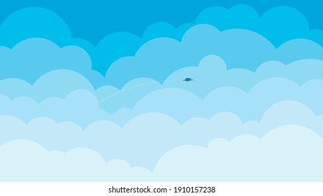 Cartoon blue sky with white clouds background illustration.
