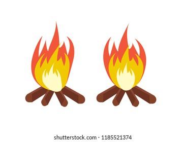 cartoon bonfire. Fire camp. Campfire cartoon illustration